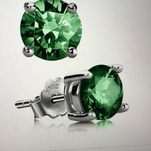Genuine Lab Created Green White Stud Earrimgs